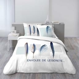 parure 3 p. 200 x 200 cm imprime 42 fils dessin place blue plume