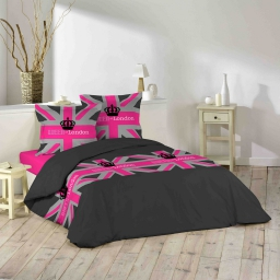 parure 3 p. 240 x 220 cm imprime 42 fils allover london girl