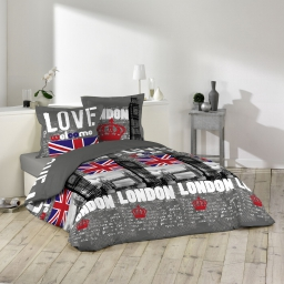parure 3 p. 240 x 220 cm imprime 57 fils allover london love