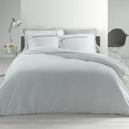 Parure de couette 240x220 cm en percale 78 fils/cm² Satinea Blanc/gris