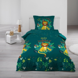 Parure de drap 90 x 190 cm imprimé 100% coton 57 fils allover petit lion