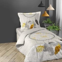 Parure de lit 1 personne 140 x 200 cm coton imprimé Boho
