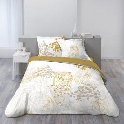 Parure de lit coton 240x220 cm imprimée tigre Rajah
