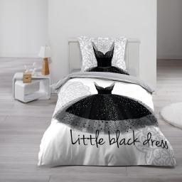 Parure de lit enfant fille 140 x 200 cm imprime black dress
