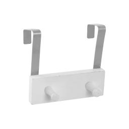 patere de porte bois et metal 2 boutons l15cm blanc