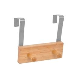 patere de porte bois et metal 2 boutons l15cm naturel