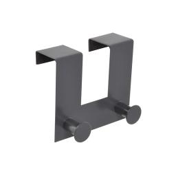 patere de porte metal 2 boutons l12.5cm gris