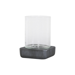 photophore carré base ficonstone h21cm gris anthracite