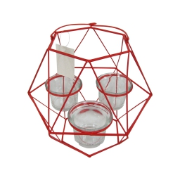 photophore geometrik 20*17.5*h27cm rouge