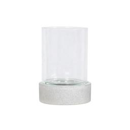 photophore rond base ficonstone h24cm gris clair
