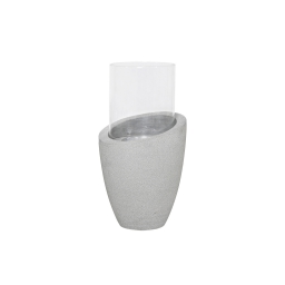 photophore rond base ficonstone h50.5cm gris clair
