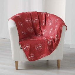 Plaid 125 x 150 cm flanelle imprimee edelweiss Rouge