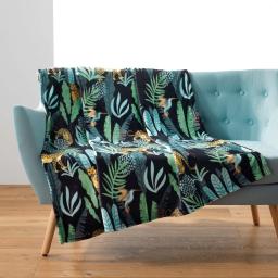 plaid 125 x 150 cm flanelle imprimee mystic jungle
