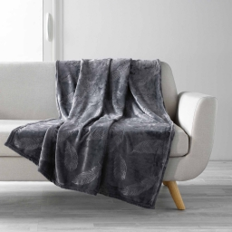 Plaid 125 x 150 cm flanelle relief ikaplume Anthracite