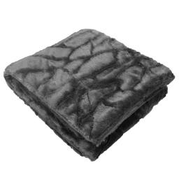 Plaid 125 x 150 cm imitation fourrure ecaille Anthracite