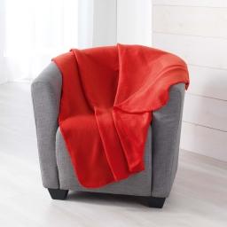 Plaid 125 x 150 cm polaire unie pilou Rouge
