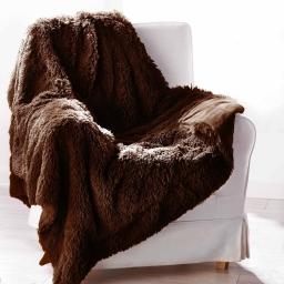 Plaid 130 x 160 cm imitation fourrure marmotte Choco