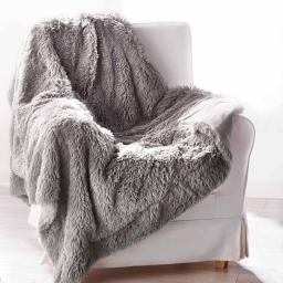 Plaid 130 x 160 cm imitation fourrure marmotte Gris