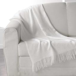 Plaid a franges 120 x 150 cm acrylique shelly Blanc
