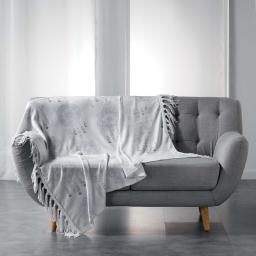 Plaid a franges 125 x 150 cm flanelle imprimee bengala Blanc