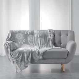 Plaid a franges 125 x 150 cm flanelle imprimee bengala Gris