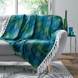 plaid a franges 125 x 150 cm flanelle imprimee winter green