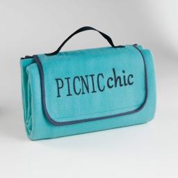Plaid pique nique 125 x 150 cm polaire bicolore+peva garden Aqua/Anthracite