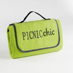 Plaid pique nique 125 x 150 cm polaire bicolore+peva garden Menthe/Anthracite