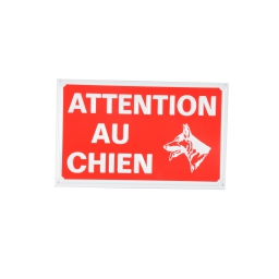 plaque attention chien - 16*10cm - rouge et blanc