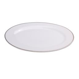 plat oval en porcelaine - dessin filet argente - 30cm