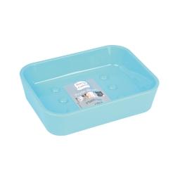 Porte-savon 2.3 x 11.9 x 8.9 cm plastique vitamine  effet soft touch Bleu ocean