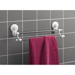 porte-serviette ventouses 2 barres metal l50cm