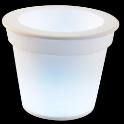 pot lumineux en plastique a piles + 1led ø16*h13cm blanc