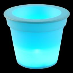 pot lumineux en plastique a piles + 1led ø16*h13cm bleu turquoise