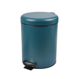 Poubelle a pedale metal effet mat 5l bleu Emeraude