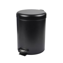 Poubelle a pedale metal effet mat 5l Noir