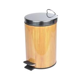 poubelle effet bois couvercle chromée 3l - douceur d'interieur