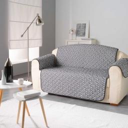Protege fauteuil matelasse 165 x 179 cm microfibre imprimee kiria Noir