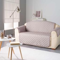 Protege fauteuil matelasse 165 x 179 cm microfibre imprimee kiria Taupe