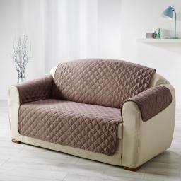 Protege fauteuil matelasse 165 x 179 cm microfibre unie club Noisette
