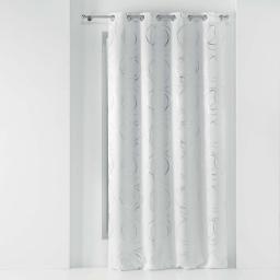 Rideau a oeillets 135 x 240 cm occultant imprime metallise youpi Blanc/argent