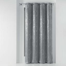 Rideau a oeillets 135 x 240 cm occultant imprime metallise youpi Gris/argent