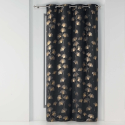 Rideau a oeillets 135x240 cm occultant imprime metallise ginkgold Anthracite/or