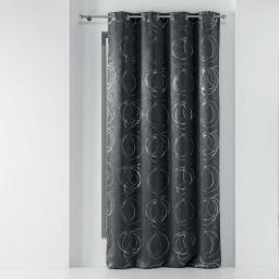Rideau a oeillets 135x240 cm occultant imprime metallise youpi Anthracite/argent
