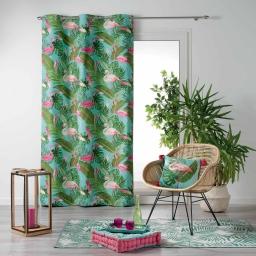 Rideau a oeillets 140 x 240 cm 100% coton imprime zootica Turquoise