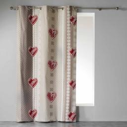Rideau a oeillets 140 x 240 cm coton imprime asmara Rouge