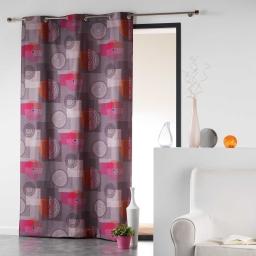 Rideau a oeillets 140 x 240 cm coton imprime calypso Orange