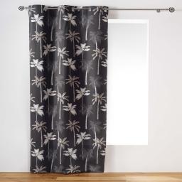 Rideau a oeillets 140 x 240 cm coton imprime cocoty Anthracite
