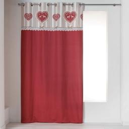 Rideau a oeillets 140 x 240 cm coton imprime+fantaisie edelweiss Rouge