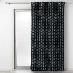 Rideau a oeillets 140 x 240 cm coton imprime letiko Noir